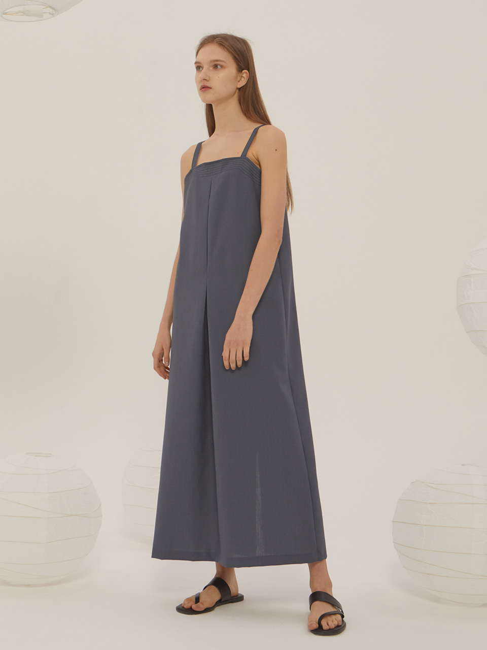 SUMMER WOOL SLEEVELESS DRESS_Smoke Blue