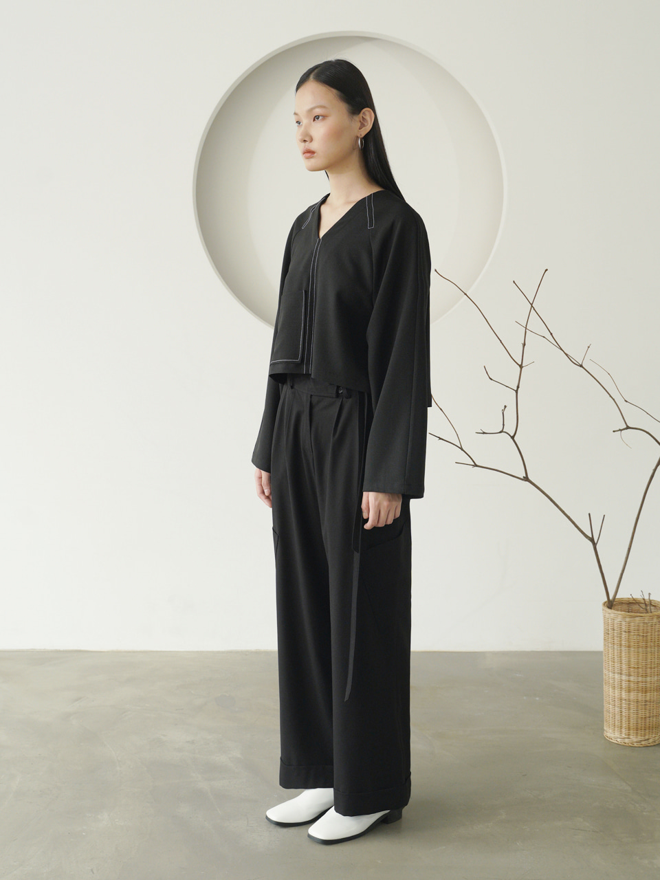 POCKET LONG PANTS_Black / Out of Stock