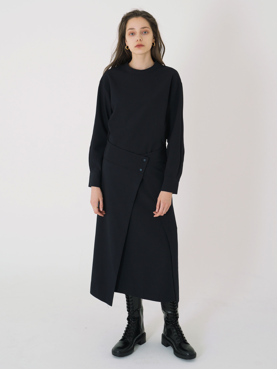 WRAP LONG DRESS_Navy / Out of Stock