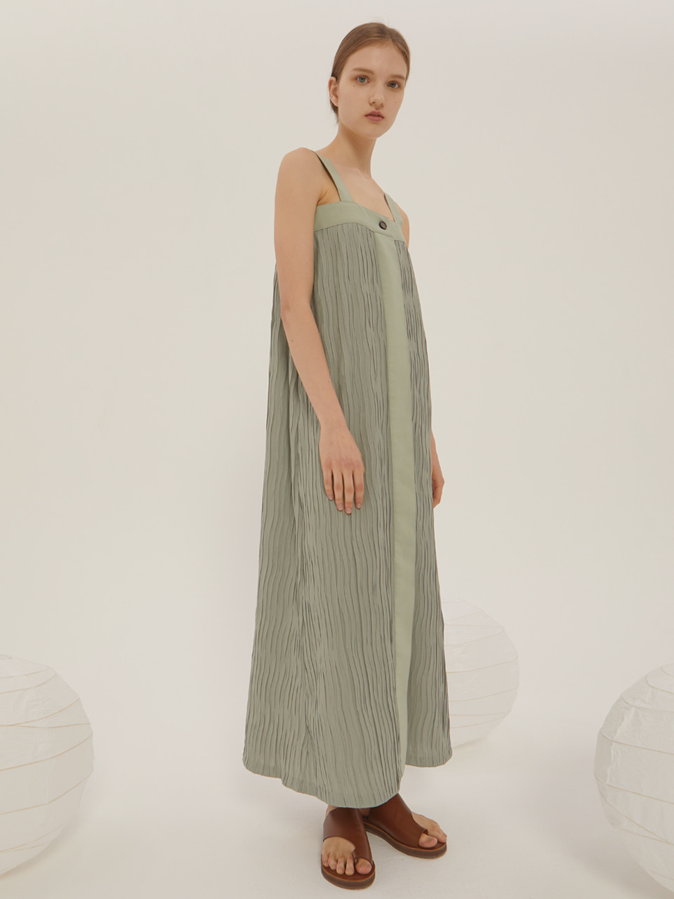 WRINKLE LONG DRESS_Olive / Out of Stock
