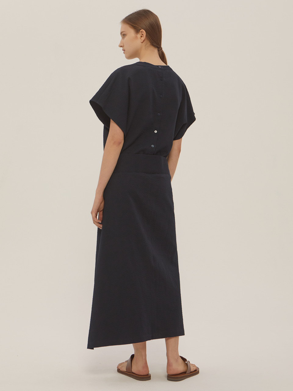 SEERSUCKER WRAP DRESS_Navy / 3rd RE-ORDER