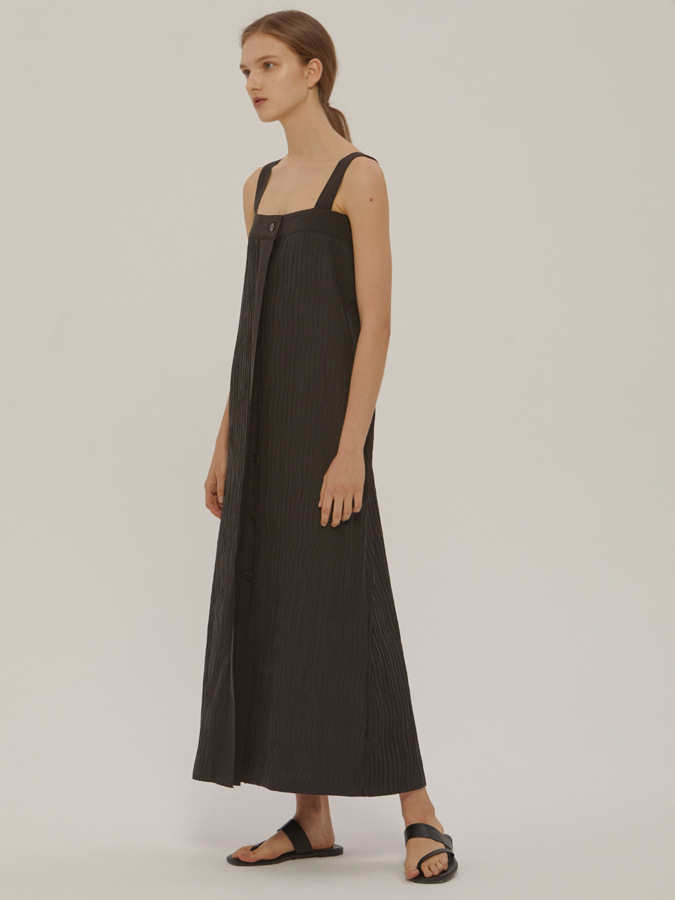 WRINKLE LONG DRESS_Black