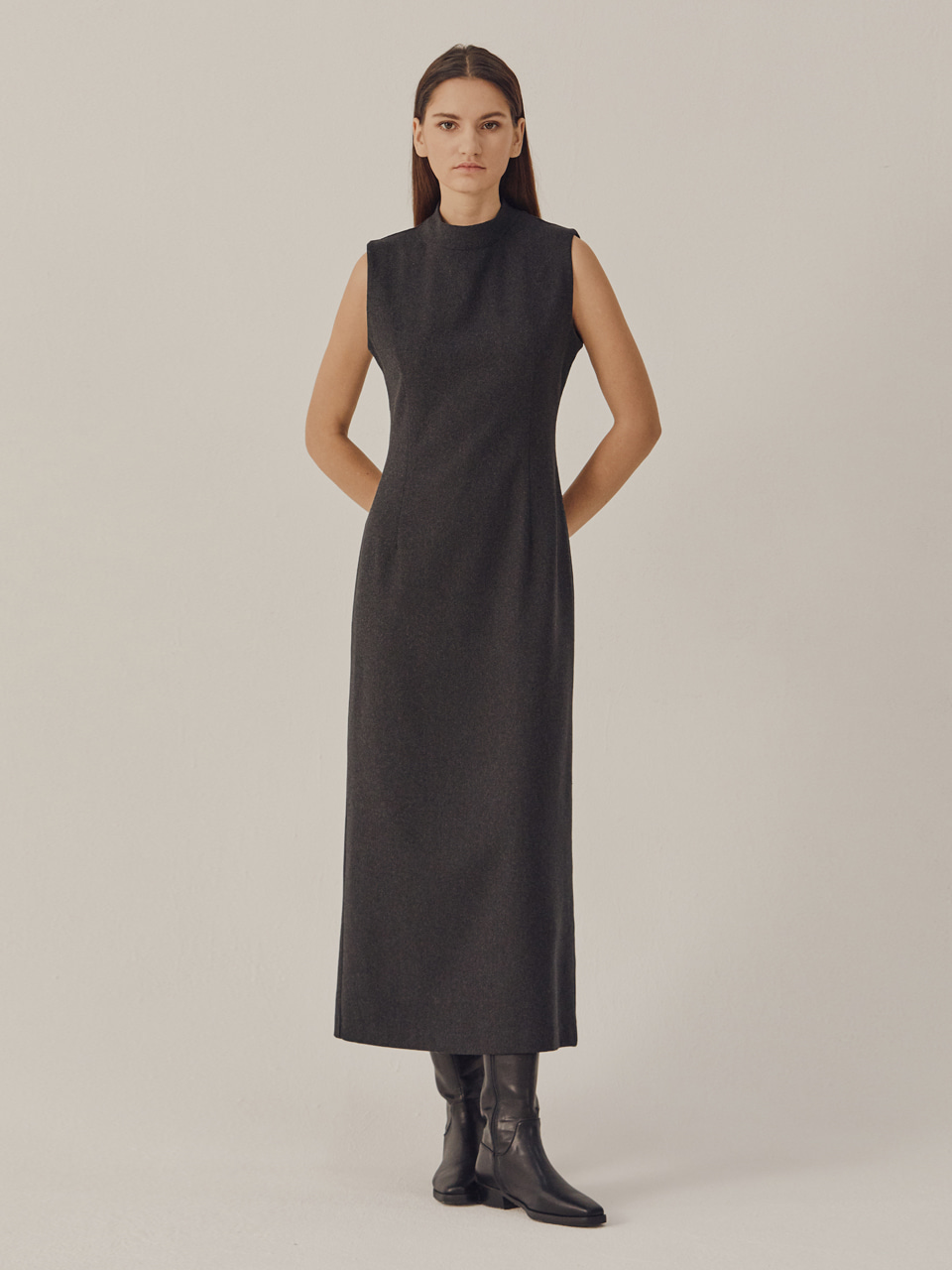 SLEEVELESS SLIM WOOL DRESS_Gray