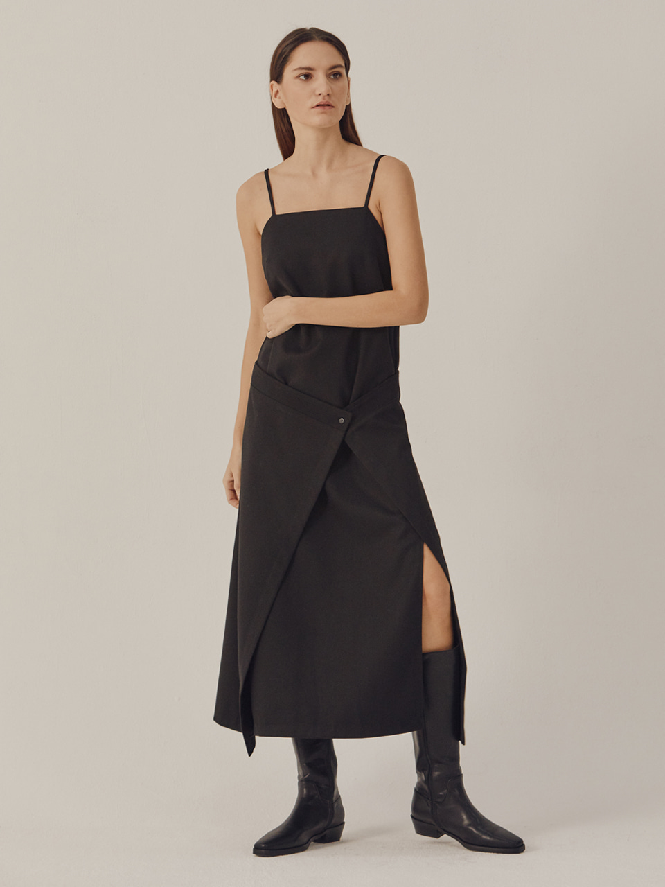 WRAP LAYERED DRESS_Black