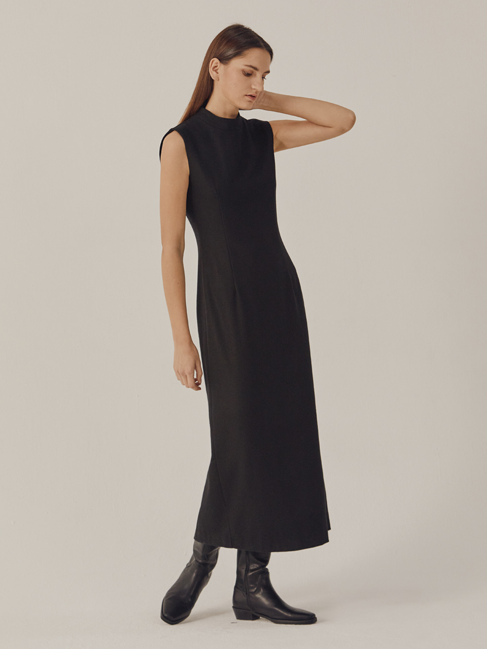 SLEEVELESS SLIM WOOL DRESS_Black