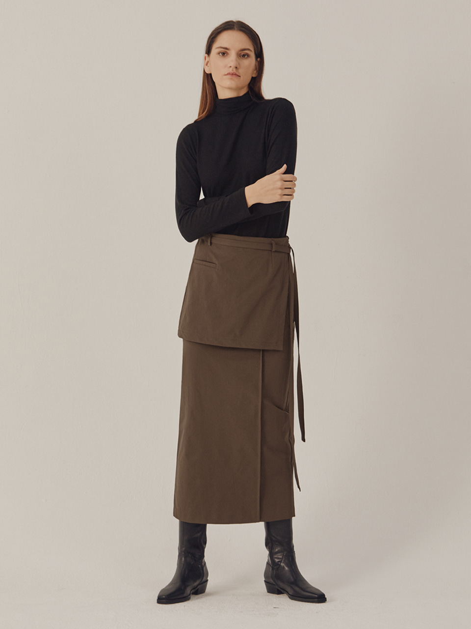 PINTUCK WRAP SKIRT_Brown